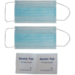 Welcome Kit - Plastic wrap with 2 disposable Masks wrapped Individually and 2 wipes