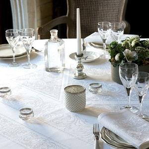 Alexandrine Neige Jacquard Tablecloth, Stain Resistant Organic Cotton