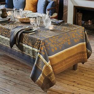 Anhinga Bleu Dore Jacquard Tablecloth, Stain Resistant Cotton Image
