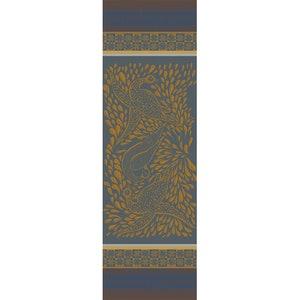 Anhinga Bleu Dore Jacquard Tablerunner, Stain Resistant Cotton Image