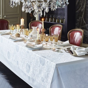 Apolline White Jacquard Tablecloth, Stain Resistant Cotton