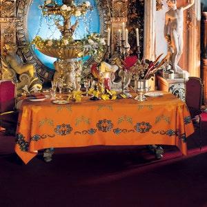 Armonia Mandarine Jacquard Tablecloth, 100% Cotton