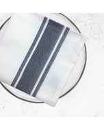 "Bistro Natte White with Charcoal Stripes Napkin 22.5""x16.5"", 100% Cotton, Set of 4"