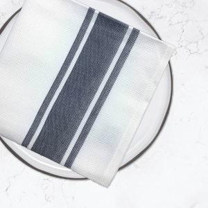Bistro Natte White with Charcoal Stripes Napkin, 100% Cotton, Set of 4