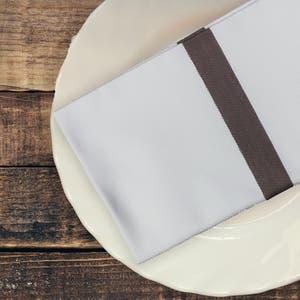 Bistro Natte White with Brown Stripes Napkin, 100% Cotton, Set of 4