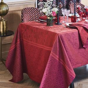 """Cassandre Grenat Tablecloth 68""""x68"""", Stain Resistant Cotton"""