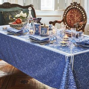 Cassandre Saphir Jacquard Tablecloth, Stain Resistant Cotton