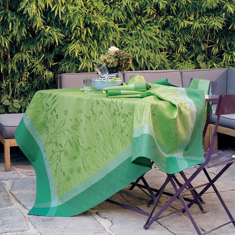 """Champ De Ble Verdure Tablecloth 69""""x69"""", Green Sweet Stain Resistant Cotton"""