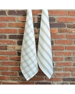 Checker and Stripes Natural Set of 2 Kitchen Towels