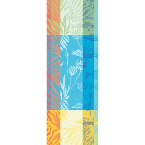 "Aquatic Rainbow Tablerunner 61""x22"", 100% Cotton"