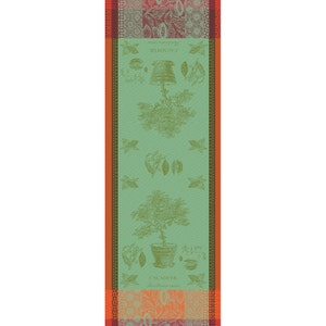 "Cacaoyer en Pot Vert Tablerunner 22""x59"", 100% Cotton"
