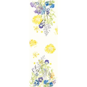 "Fleurs Champetres Floraison Tablerunner 20""x61"", Cotton-linen blend"