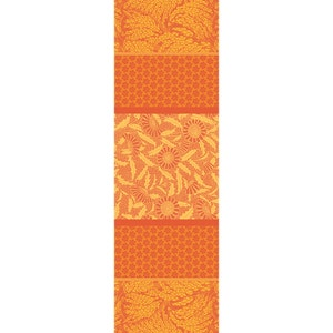 "Graminees Orange Tablerunner 69""x22"", Green Sweet Stain-Resistant Cotton"