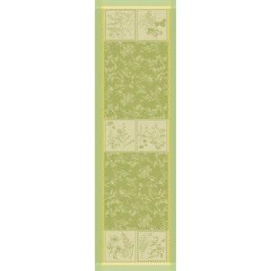 """Herbora Prairie Tablerunner 21""""x71"""", Green Sweet Stain-resistant Cotton"""