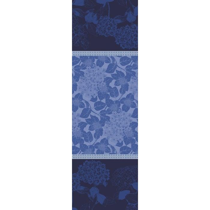 Hortensias Bleu Tablerunner, Stain Resistant Organic Cotton
