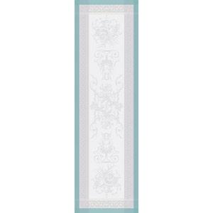 "Jardin De La Reine Celadon Tablerunner 21""x71"", 54cmx180cm, Green Sweet Stain-Resistant Cotton"