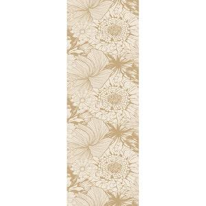 "Mille Bloom Naturel Tablerunner 21""x59"", Cotton-linen blend"