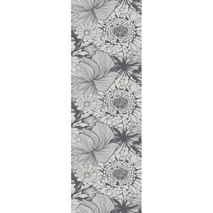 """Mille Bloom Noir Tablerunner 21""""x59"""", Cotton-linen blend"""