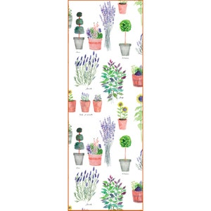 "Mille Pepinieres Floraison Tablerunner 20""x59"", Cotton-linen blend"