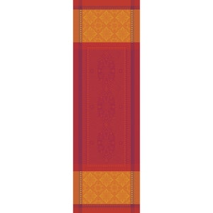 "Palerme Orange Sanguine Tablerunner 69""x22"", Green Sweet Stain-resistant Cotton"