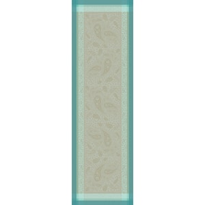 "Pondichery Lagon Tablerunner 21""x71"", Green Sweet Stain-resistant Cotton"