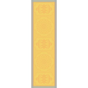"""Soubise Jaune D Or Tablerunner 20""""x106"""", Green Sweet Stain-Resistant Cotton"""