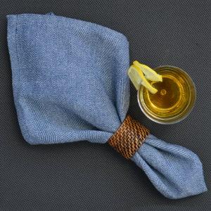 "Chevroni Blue  Napkins 22""x23"", 100% Cotton, Set of 4"