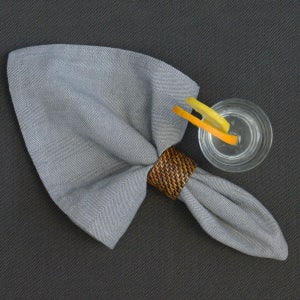 "Chevroni Grey Napkins 22""x23"", 100% Cotton, Set of 4"