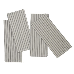 "Columni Dark Grey Napkin 17""x27"", 100% Cotton, Set of 4"