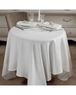 Comtesse Blanche White Jacquard Tablecloth, Stain Resistant Cotton