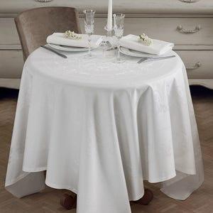"Comtesse Blanc Tablecloth 69""x100"", Stain Resistant Cotton"