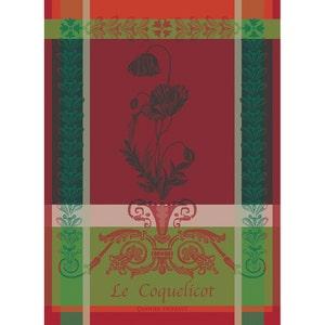 Coquelicots Carmin Kitchen Towel, 100% Organic Cotton
