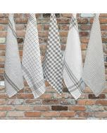 Checker and Stripes White/Grey Kitchen Towels, 100% Cotton - Set of 5