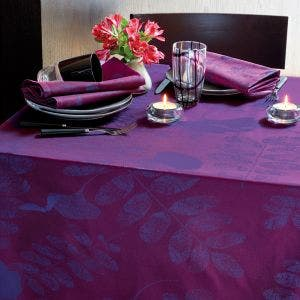 "Mille Feuilles Pourpre Tablecloth 69""x69"", Coated Cotton"