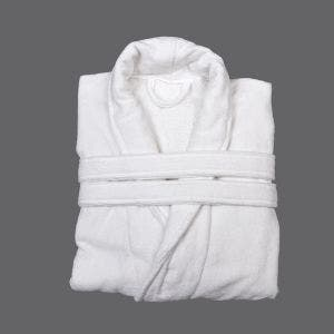 Adam White Velour Bath Robe, XLarge