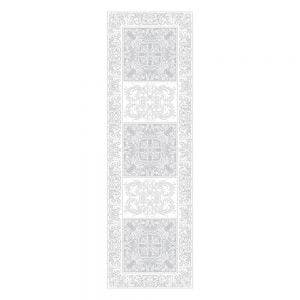 "Alexandrine Snow Tablerunner 21""x59"", Organic Cotton"