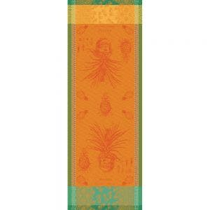 "Ananas en Pot Jaune Soleil Tablerunner 22""x59"", 100% Cotton"