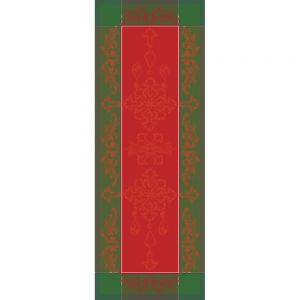 "Noel Baroque Rouge Tablerunner 22""x59"", Green Sweet Stain-resistant Cotton"