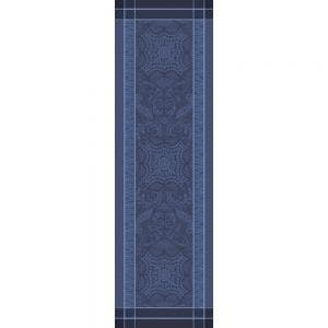 """Persina Crepuscule Tablerunner 21""""x71"""", Green Sweet Stain-resistant Cotton, High Thread Count, Mitered corners, Silver threads"""