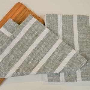 Dobby Stripe Sage Kitchen Towels, 100% Cotton - Set of 2