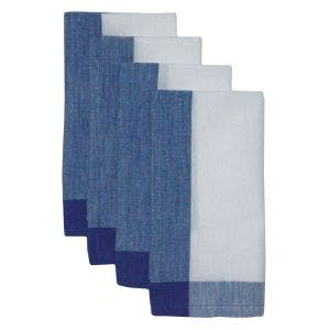 "Intramuri Blue Napkin 22""x23"", 100% Cotton, Set of 4"