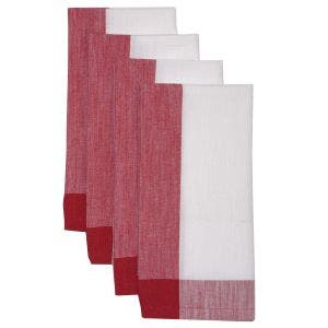 "Intramuri White/Red Napkin 22""x23"", 100% Cotton, Set of 4"