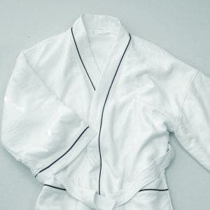 Lady White with black piping Bath Robe, XLarge