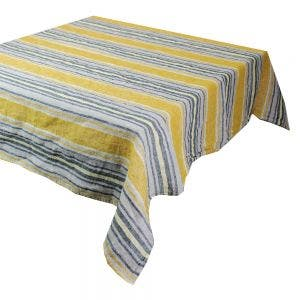 "Sombrilla Curry Tablecloth 45""x45"", 100% Linen"