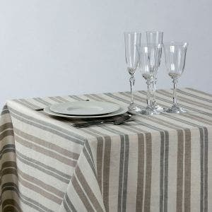 Twist Natural Stripes Tablecloth