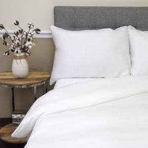 Nice Sateen White Duvet Set, 300 thread count