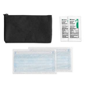 Welcome Kit Pouch with 2 disposable Masks wrapped Individually and 2 wipes