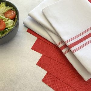 8-Piece Set. Red Placemats with White Bistro Napkins with Red stripes