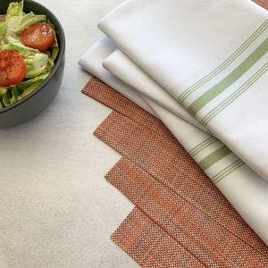 8-Piece Set. Mandarin Placemats with White Bistro Napkins with Sage stripes