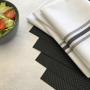 8-Piece Set. Black Placemats with White Bistro Napkins with Black stripes